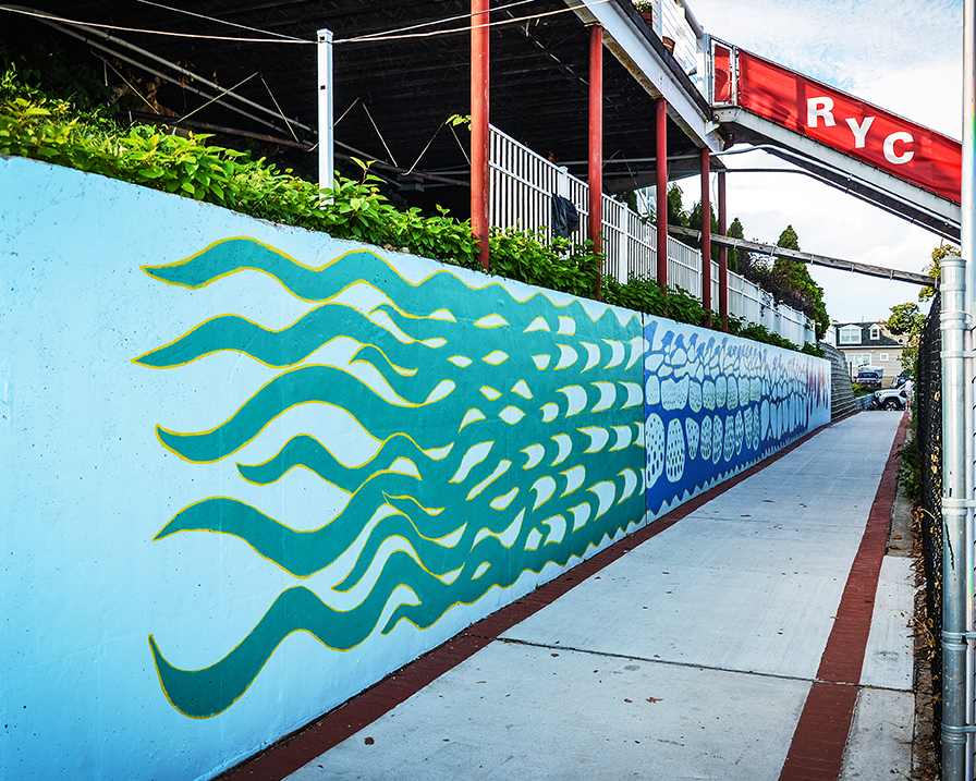 Nautical Abstractions: Perth Amboy by the Sea 650ft Waterfront Walk Mural by Perth Amboy Artist Kerry Dyke sponsored by Perth Amboy Artworks.